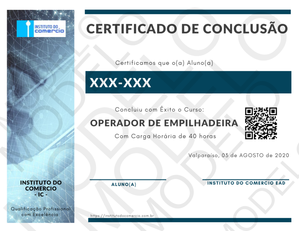 certificado curso operador de empilhadeira