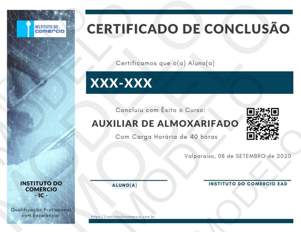 CERTIFICADO DO CURSO DE AUXILIAR DE ALMOXARIFADO