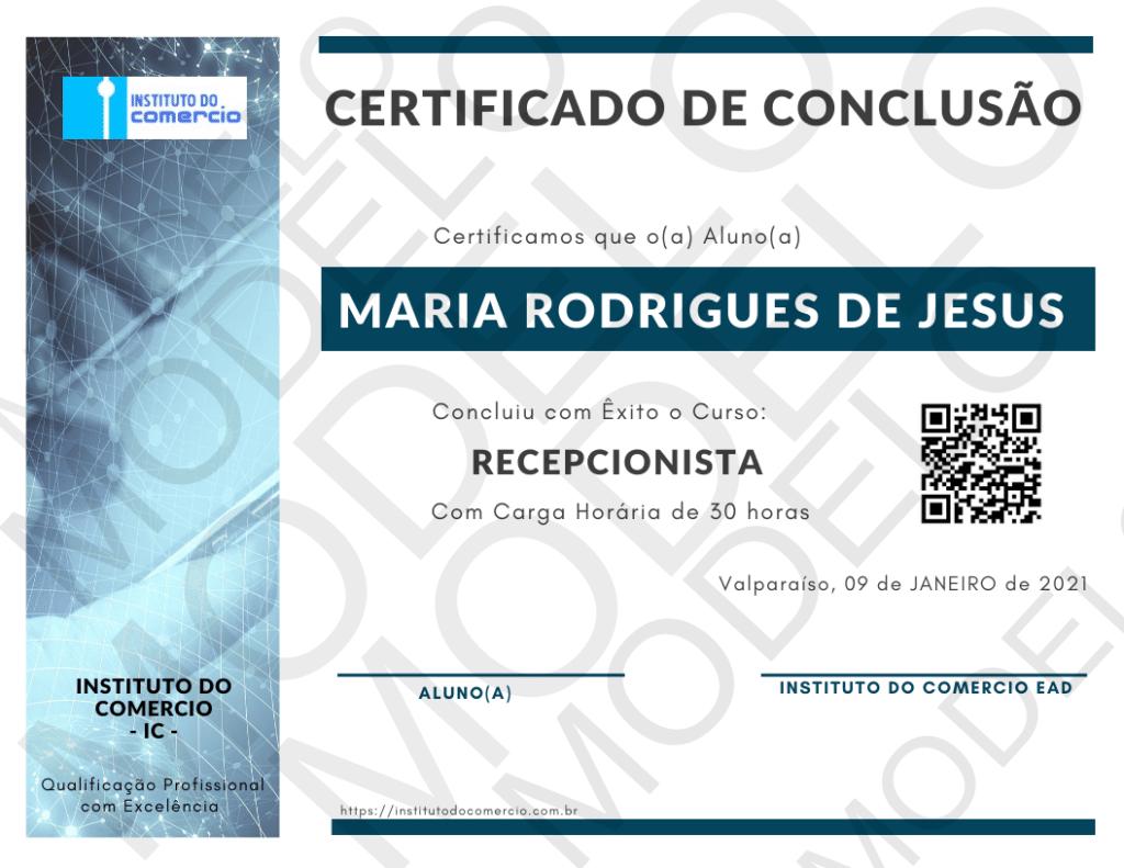 Certificado CURSO RECEPCIONISTA - ONLINE COM CERTIFICADO 2021